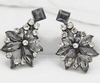 Handmade gray  Crystal Ear Drop Dangle Stud Ancient Silver long Earrings