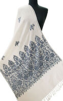 White Wool Shawl Grey Embroidery With Shades of Blue Moody Periwinkle Pashmina