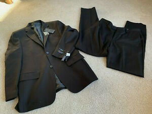 NWT ANGELO ROSSI Giorgio Cosani Black Suit MODERN flat front 34 PANTS 40R jacket