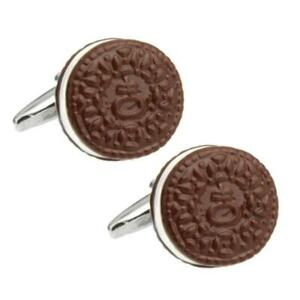 COOKIE CUFFLINKS Novelty Filled Chocolate Biscuit Food Foodie NEW w GIFT BAG