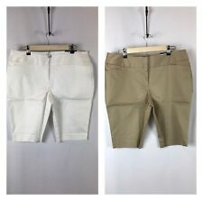 Bundle Of 2 New Worthington Modern Fit Bermuda Shorts Women's Size 14 White/Kaki