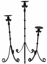 3 Candle Holders Pillar Graduated Size Set Various Heights Black Wrought Iron