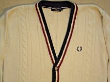 Fred Perry Cable Knitted Cable Mens Sweater Cardigan Cricket Large Vintage