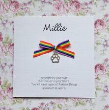 Personalised Pet Bereavement card loss of pet Sympathy Paw Charm Rainbow Bridge