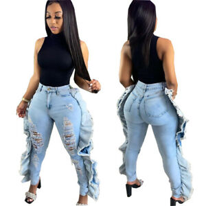Fashion Women's Ripped Side Ruffled Patchwork Skinny Long Jeans Bottoms Casual