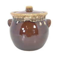 Hull Pottery Bean Pot with Lid Oven Proof USA Brown Drip Glaze Jar Vintage