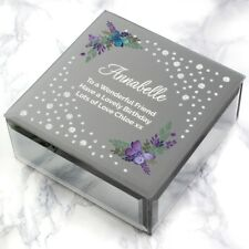 Personalised Any Message Floral Butterfly Diamante Glass Trinket Box Sister Mum