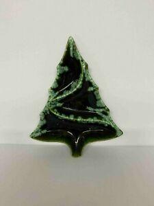 Vintage 1963 Atlantic Mold Green Christmas Tree Dish Ceramic