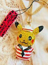 US SELLER Betsey Johnson Pikachu Sailor Gold Chain Necklace POKEMON