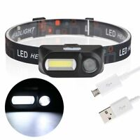 LED COB USB Rechargeable 18650 Headlamp Headlight Fishing Torch Flashlight
