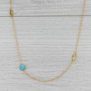 New Nina Nguyen Turquoise Flower Necklace Adjustable Sterling 22k Gold Vermeil