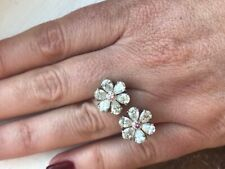 Beautiful 925 Real Silver Vivid Pink & White Sapphire 4.60ct Double Flower Ring