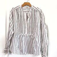 Joie Morit Blouse Size Medium Striped Multicolor Long Sleeve Popover V Neck