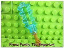 New LEGO Weapon Star Wars Minifig Translucent Light Blue SWORD Gold Jedi Hilt