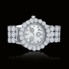 Real Diamond Men Stainless Steel White Gold Custom Flower Watch W/Date Ice House