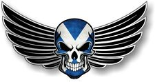 WINGED Biker SKULL wings & Scotland Scottish Saltire Flag car bike sticker Decal
