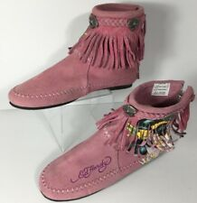 Ed Hardy Geisha Tattoo Heel Zipper Pink Suede Uppers Ankle Boots Size 6.5