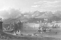 Sicily, MESSINA CATHEDRAL PORT PALACE ~ Antique 1841 Art Print Engraving RARE!