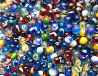 Glass Pee Wee 12mm Marbles (set of 50) Blue, Cat eyes from Bulk Assorted Lot