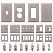 Wall Switch Plate Outlet Cover Toggle Duplex Rocker Brushed Satin Nickel