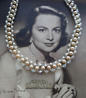VINTAGE 1950s FAUX PEARL AURORA BOREALIS CHOKER NECKLACE BRIDAL PARTY GIFT