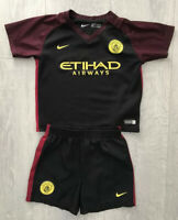 Boys kids Manchester City away football kit size 2-3 years Nike 2016-2017