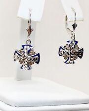 14K White Gold Diamond Blue Enamel Masonic Cross of Constantine Dangle Earrings