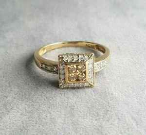 Ladies Diamond Ring 9ct Yellow Gold with Four Champagne RBC Diamonds VAL $1500