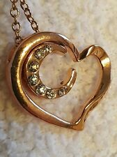 ROSE GOLD HEART WITH MOON INSIDE THE HEART/ SWAROVSKI  CRYSTALS 18 INCH CHAIN