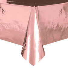 Rose Gold Metallic Foil Plastic Tablecover Rose Gold Party Plastic Tablecloth