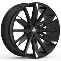 "4-TIS 545MBT 22x10 6x5.5"" +30mm Black/Machined Tips Wheels Rims 22"" Inch"