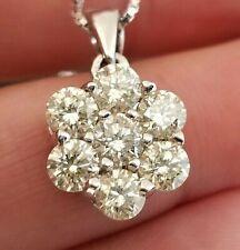 1.40TCW Vintage Light Yellow Diamond Flower Cluster 14k pendant/chain 17.5