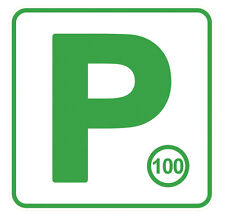 1PAIR OF GREEN P PLATEs Vinyl  Decal size . 150mm H by 150 mm W gloss laminated
