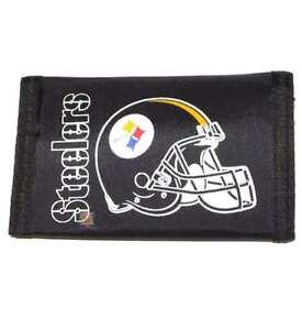 Pittsburgh Steelers Black Nylon Tri-Fold Wallet, New