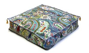 """20x20x4"""" Inch Indian Cushion Cover Floor Pillow Square Paisley Box Cushion Cover"""