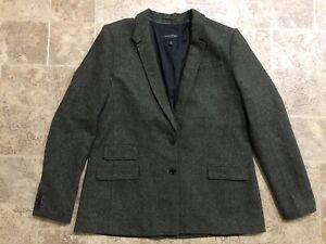 Banana Republic Green Herringbone Tweed Hacking Jacket Blazer Women's Size 14