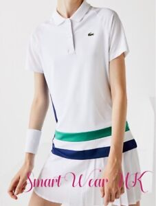Lacoste SPORT Women's Breathable Stretch Tennis Polo Shirt White (RRP £75)