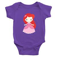 Infant Baby Boy Girl Rib Bodysuit Clothes Babysuits Little Mermaid Princess Arie