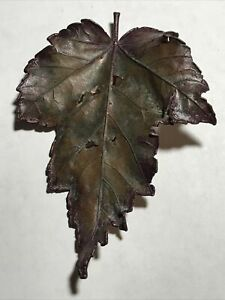 Vintage Copper Nature's Creations Leaf Brooch Maryland Maple Leaf