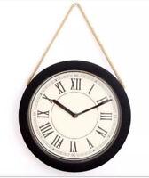 Retro Vintage Cream & Black Rope Hanging Roman Numerals Wall Clock