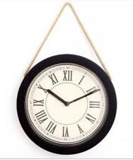 Retro Vintage Cream & Black Rope Hanging Wall Clock