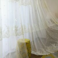 Baroque Lace Curtains Fabric Embroidery Cutwork Voile Tulle Window Drapes Modern