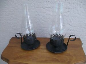 VINTAGE PAIR WROUGHT IRON TAPER CANDLE HOLDERS/HURRICANE LAMPS