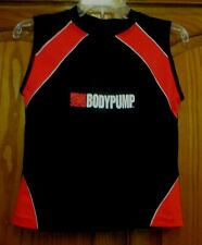 WOMEN'S LES MILLS BODY PUMP SZ S RED/BLACK/WHITE SPANDEX FITTED TANK TOP