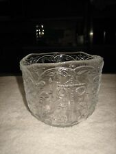 VINTAGE CLEAR GLASS SERVING BOWL WITH RAISED HOLIDAY CHRISTMAS DESIGN