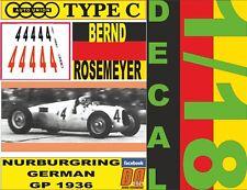 "DECAL 1/18 AUTO UNION ""TYPE C"" B.ROSEMEYER GERMAN GP 1936 (12)"
