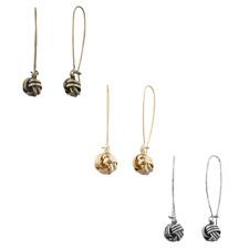 Lux Accessories Tri Color Love Knot Dangle Multi Earring Set (3PCS)