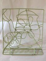 Vintage Metal Wire Book, Recipe Stand Holder Tablet Coffee Pot & Cup Shabby Chic