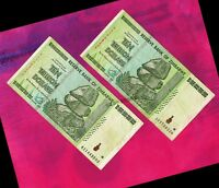 2x 10 Trillion Zimbabwe Dollars Banknotes AA 2008 Authentic Currency Paper Money