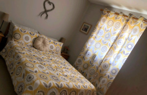 Bedding and matching curtains